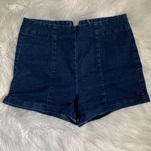 LoveRiche High Waisted Dark Denim Shorts
